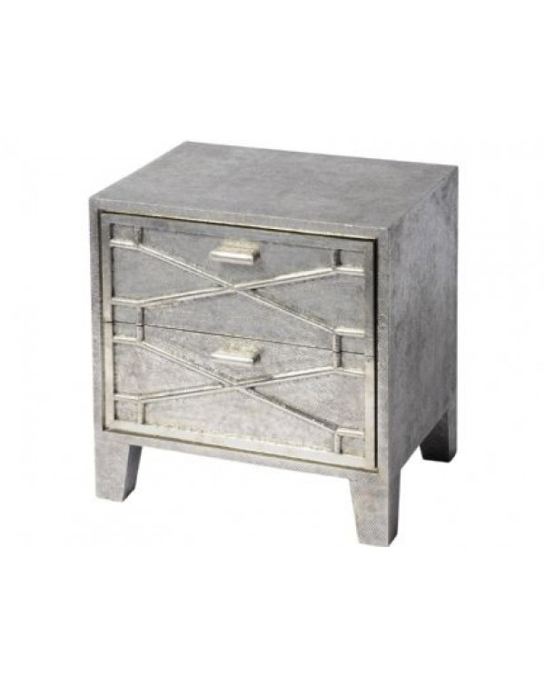 Astro and Embossed Metal Two Drawer Bedside Table
